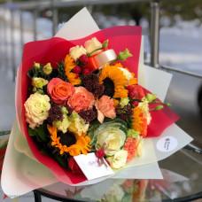 Осенний букет с подсолнухами